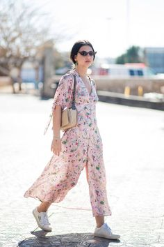 Floral Dress With White Sneakers