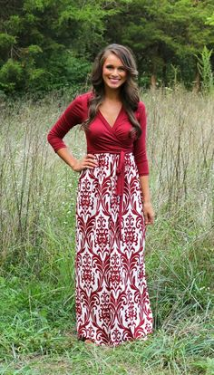The Pink Lily Boutique - Something Special Damask Maxi Burgundy, $44.00 (http://thepinklilyboutique.com/something-special-damask-maxi-burgundy/)