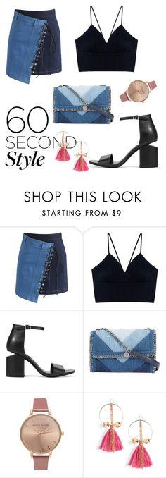 """Street oufit with asymmetric skirt"" by dessyaramadhanti ❤ liked on Polyvore featuring Chicwish, Alexander Wang, STELLA McCARTNEY, Olivia Burton, Ettika, asymmetricskirts and 60secondstyle"