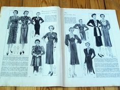 1930s 1940s GERMAN FASHION & SEWING PATTERN MAGAZINE - Vintage 30s 40s DRESSES | eBay