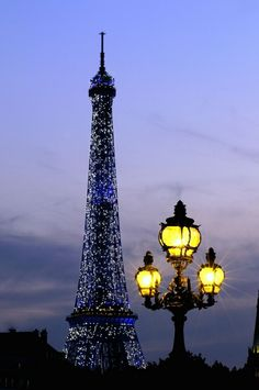 Blue illuminated at Eiffel Tower