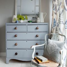 Bedroom with pale grey chest of drawers | Bedroom decorating | Style at Home | Housetohome.co.uk