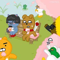 Friends Gif, Line Friends, Cute Emoji Wallpaper, Iphone Wallpaper, Kakao Ryan, Safety Posters, Kakao Friends, Kawaii Drawings, Cute Characters