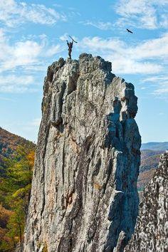Mountaineer Jonathan Kimble on Seneca Rocks, photo by Greg Ellis, WVU Photography, http://photos.wvu.edu/
