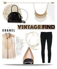 """Vintage Find: Chanel Floral Lace Print Shirt"" by samanthasade ❤ liked on Polyvore"