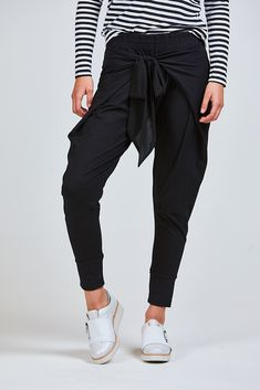 Favourite virtue pants are back in plains with ribbon ties and elastic waistAlso available in khaki and navy Standard cotton, elastaneModel is and is wearing a size XSAvailable in sizes XS-XL Drop Crotch, Dressy Tops, Black Pants, Shop Brands, Capri Pants, Dress Up, Fashion Outfits, Clothes For Women, Tees