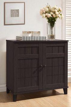 Glidden Dark Brown Short Wood Modern Shoe Cabinet