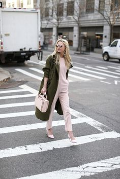 spring to winter dressing-transitional dressing-blush pink jupmsuit-pumps-evergreen coat-army green coat-atlantic-pacific-shower-brunch-party Atlantic Pacific, Winter Outfits For Work, Fall Outfits, Cool Girl Style, My Style, Classic Style, Olive Clothing, Chanel, Fashion Sites