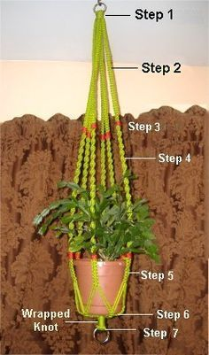 Good tutorial for a macrame hanging planter. You will need 74 yards of 4 mm cord.