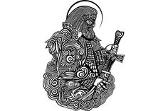 In Slavic mythology, Perun is the highest god of the pantheon and the god of thunder and lightning. Warrior with a sword. Russian Mythology, Slavic Tattoo, Dragon Tattoo Arm, God Tattoos, Sword Tattoo, Mythology Tattoos, Thunder And Lightning, Graphic Illustration, Celtic