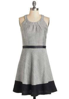 Nothing but Networking Dress. Making connections comes easily to you, and your rsum isnt the only thing making an impression since youre meeting and mingling in this monochrome tweed dress! #grey #modcloth
