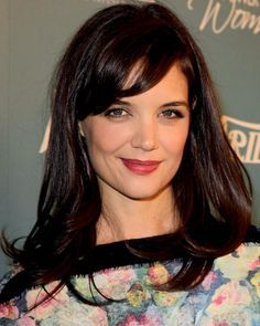 Look of the Day photo | Katie Holmes. Great haircolor combo for warm, light skin and hazel/green eyes