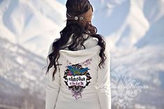 Alaska Chicks Cream zip up hoodie