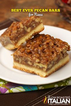 The Best Ever Pecan Bars for them. A fabulous recipe with a caramelized pecan pie set atop a shortbread crust is the absolute perfect nut bar. My family requests more of this dessert than any other every year. Köstliche Desserts, Delicious Desserts, Dessert Recipes, Yummy Food, Dinner Recipes, Pie Recipes, Sweet Recipes, Cookie Recipes, Pecan Recipes