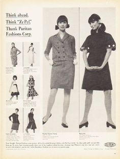 """Description: 1966 DU PONT vintage magazine advertisement """"Think Ahead"""" -- Think Ahead. Think """"Ze Pel."""" Thank Puritan Fashions Corp. -- Size: The dimensions of the full-page advertisement are approximately 10.5 inches x 13.5 inches (26.75 cm x 34.25 cm). Condition: This original vintage full-page advertisement is in Excellent Condition unless otherwise noted."""