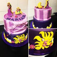 Red velvet and Chocolate Rapunzel two tier cake