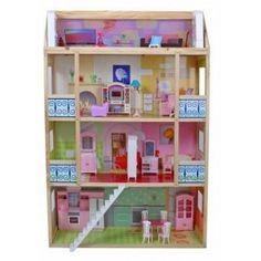 Mooi groot houten Poppenhuis met drie grote verdiepingen en een dakterras.