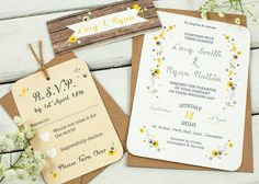 Wooden Yellow Floral wedding invitation-04