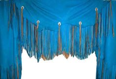 Leather Curtain Blue with Brown