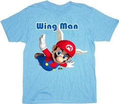 Nintendo Super Mario Wing Man Light Blue T-shirt Tee