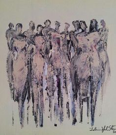 Acrylic on canvas. 'Ggirl's night out' by Tahmina Stenevik