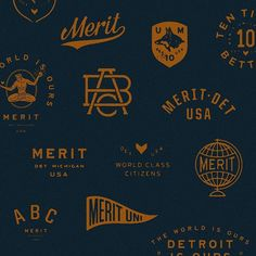 Classic as hell — Merit branding — USA. Logo Branding, Branding Design, American Logo, Types Of Lettering, Badge Design, Vintage Design, Letter Logo, Photo Instagram, Mood