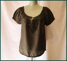 Anthropologie Dark Olive Blouse Size M By Joie Short Sleeves 100% Silk