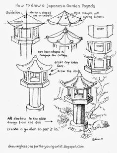 How to Draw Worksheets for The Young Artist: How to Draw a Japanese Garden Pagod. - How to Draw Worksheets for The Young Artist: How to Draw a Japanese Garden Pagoda - Basic Drawing, Drawing Lessons, Step By Step Drawing, Drawing Techniques, Drawing Sketches, Art Lessons, Art Worksheets, Perspective Drawing, Landscape Drawings