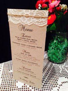 Tri-fold Wedding Menu - vintage, lace, twine, recycled card from www.essentric.com.au