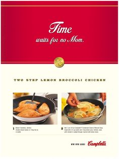 BBDO advertisement for Campbell's soup Chicken Broccoli, Lemon Chicken, Campbell Soup Company, Advertising, Ads, Lemon Slice, Canning, Contemporary, Vintage