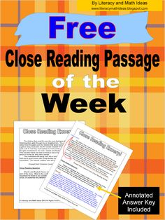 Free Holiday Teaching Ideas : FREE Close Reading Passage of the Week~An Annotated Key Is Included Reading Lessons, Reading Skills, Teaching Reading, Guided Reading, Teaching Ideas, Cloze Reading, Reading Resources, 6th Grade Reading, Middle School Reading