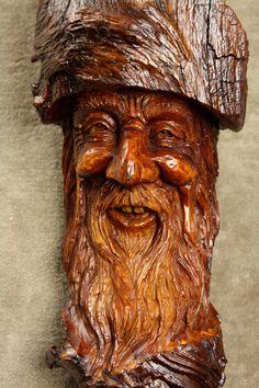 Wood Spirit Wizard Wood Carving Ooak by TreeWizWoodCarvings, $125.00