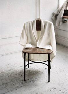 white jacket on a chair Fashion Still Life, City Chic, Clothing Photography, Fashion Photography, Foto Still, Cobalt Dress, Olivia Munn, Less Is More, Still Life Photography