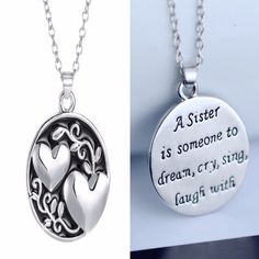 Double Sided Heart Sister Pendant - The Needed Necklace - 1