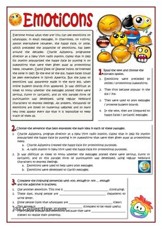 EMOTICONS worksheet - Free ESL printable worksheets made by teachers English Reading, English Fun, English Writing, English Lessons, Teaching English, Learn English, Reading Comprehension Activities, Reading Worksheets, Printable Worksheets