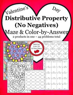 Valentine's Day Distributive Property (no negatives) ~ 2 products in one! Valentine's Day Maze & Valentine's Day Color-by-Answer 44 problems total.  Visit Gotta Luv It Creations