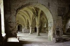 """The cloisters of the Cistercian Abbey of Thoronet. With Senanque and Silvacan, Thoronet is one of the """"Three Sisters"""" monasteries of Provence. Aix En Provence, Haute Provence, Provence France, Antibes, Cannes, Juan Les Pins, The Cloisters, Three Sisters, 12th Century"""