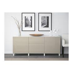 Shoes? - BESTÅ Storage combination with drawers - white/Selsviken high-gloss/beige, drawer runner, push-open - IKEA
