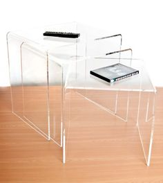 Modern 3pc Acrylic Perspex Nesting End Table Coffee