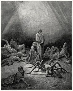 """""""Oh fond Arachne! Thee I also saw, Half spider now, in anguish, crawling up  The unfinish'd web thou weaved'st to thy bane."""" Gustave Doré, from Purgatory and Paradise, by Dante Alighieri,  Chicago, 1883."""