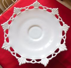 Vintage Westmoreland Ring & Petal Milk Glass Footed Cake Plate #Westmorland