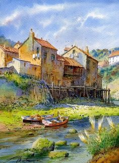 Beautiful Watercolor painting by Spanish artist Faustino Martin Gonzalez. Watercolor Architecture, Watercolor Landscape, Landscape Art, Landscape Paintings, Urban Architecture, Watercolor Artists, Watercolor Paintings, Watercolors, Art Et Illustration
