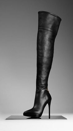 Burberry - ANKLE CHAIN LEATHER BOOTS - Polished leather boots with distinctive ankle chain $1395