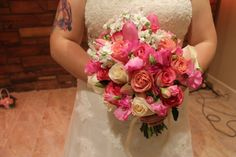 Shades of pink. Roses, tulips, stock