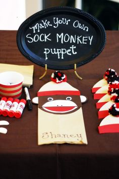This blog has lots of cute ideas for a Sock Monkey Party