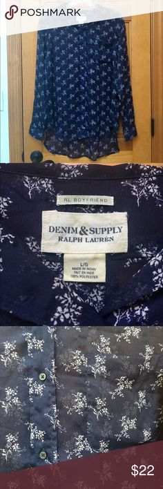 Denim & Supply Co. Blouse Like new navy and white sheer floral blouse by Ralph Lauren in the boyfriend style size large. Cute with jeans! Item comes from a smoke-free home with pets. If you have any questions, please ask. Thanks for looking! Denim & Supply Ralph Lauren Tops Blouses