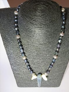 Blue pearls with two white keshi pearls, silver beads and a healing stone, Kyanite for a dear friend of mine
