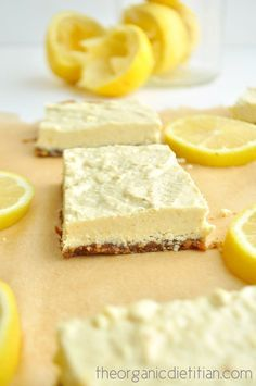 Healthy lemon bars that are raw, vegan paleo, gluten free, grain free and still delicious, sweet and tart. No sugar, no flour, no artificial ingredients. #kombuchaguru #rawfood Also check out: http://kombuchaguru.com