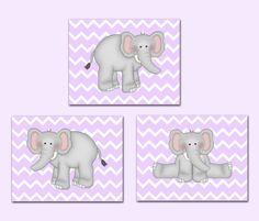 Purple Lavender Chevron Jungle Elephant Girl Wall Art Prints