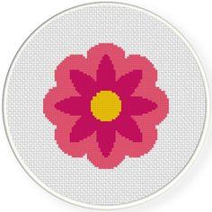 FREE Pink Flower Cross Stitch Pattern